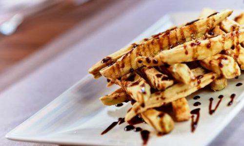 exquisitas berenjenas fritas con miel de caña