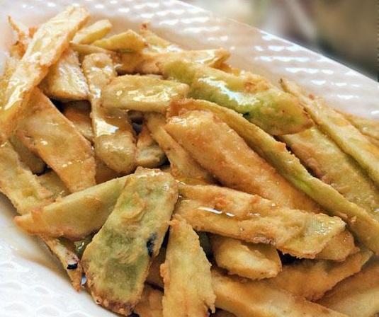 berenjenas fritas con miel tipo patatas