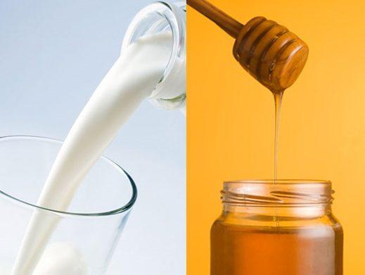 combinación de leche con miel