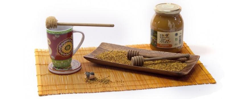 miel ecológica con par de mieleras