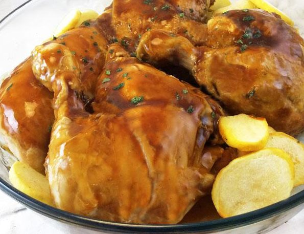 pollo a la miel con papas cocidas